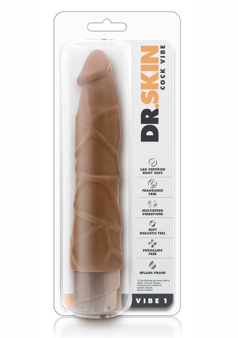 Dr. Skin Cock Vibe 1 Realistic Vibrator Splashproof Mocha 9 Inch