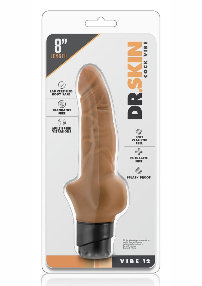 Dr. Skin Cock Vibe 12 Realistic Vibrator Showerproof Mocha 8 Inch