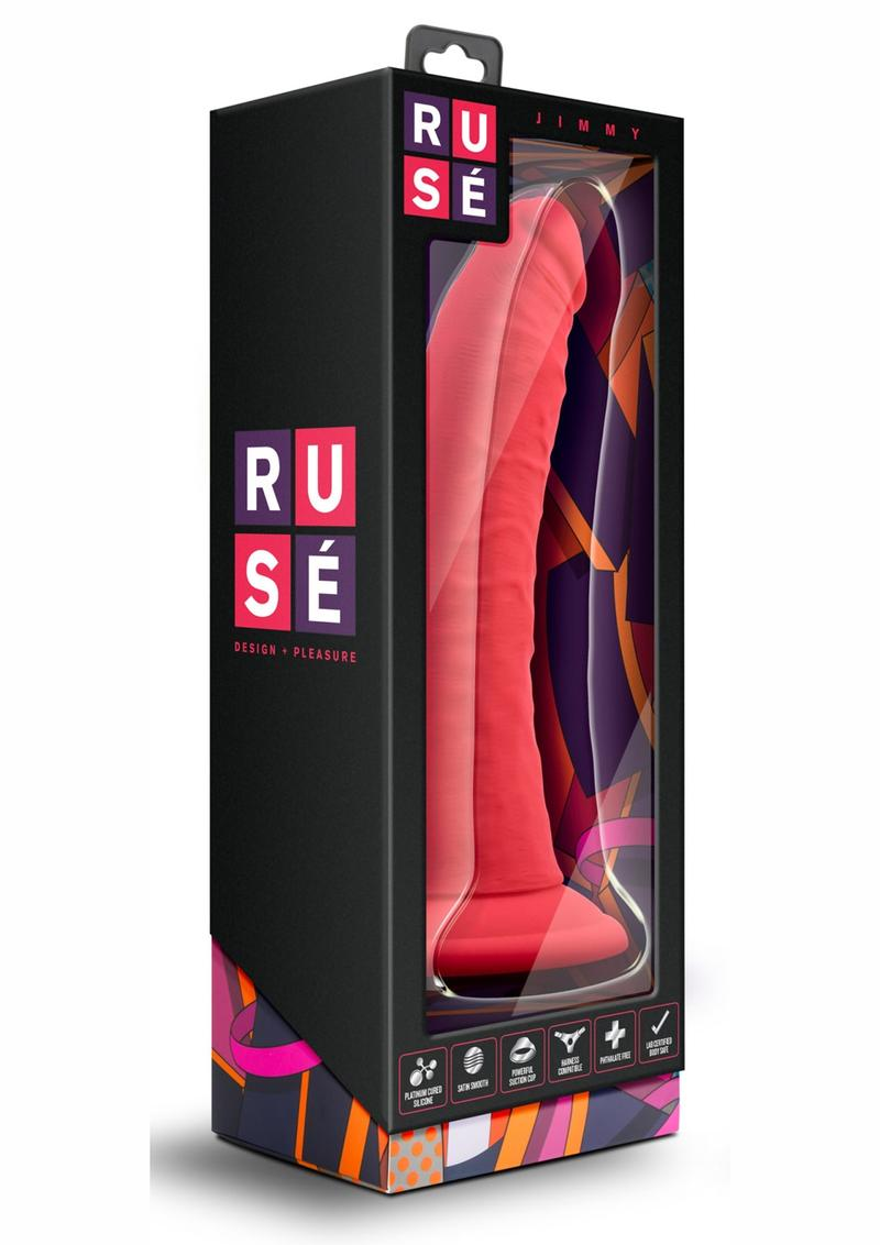 Ruse Jimmy Cerise Red Non Vibrating Dildo Silicone Suction Cup