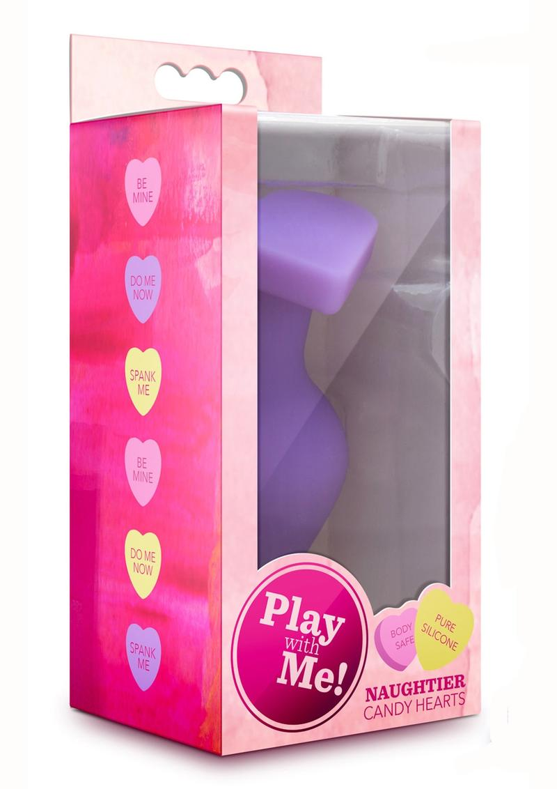 Play With Me Naughtier Candy Hearts Fuck Me Anal Plug Silicone - Purple