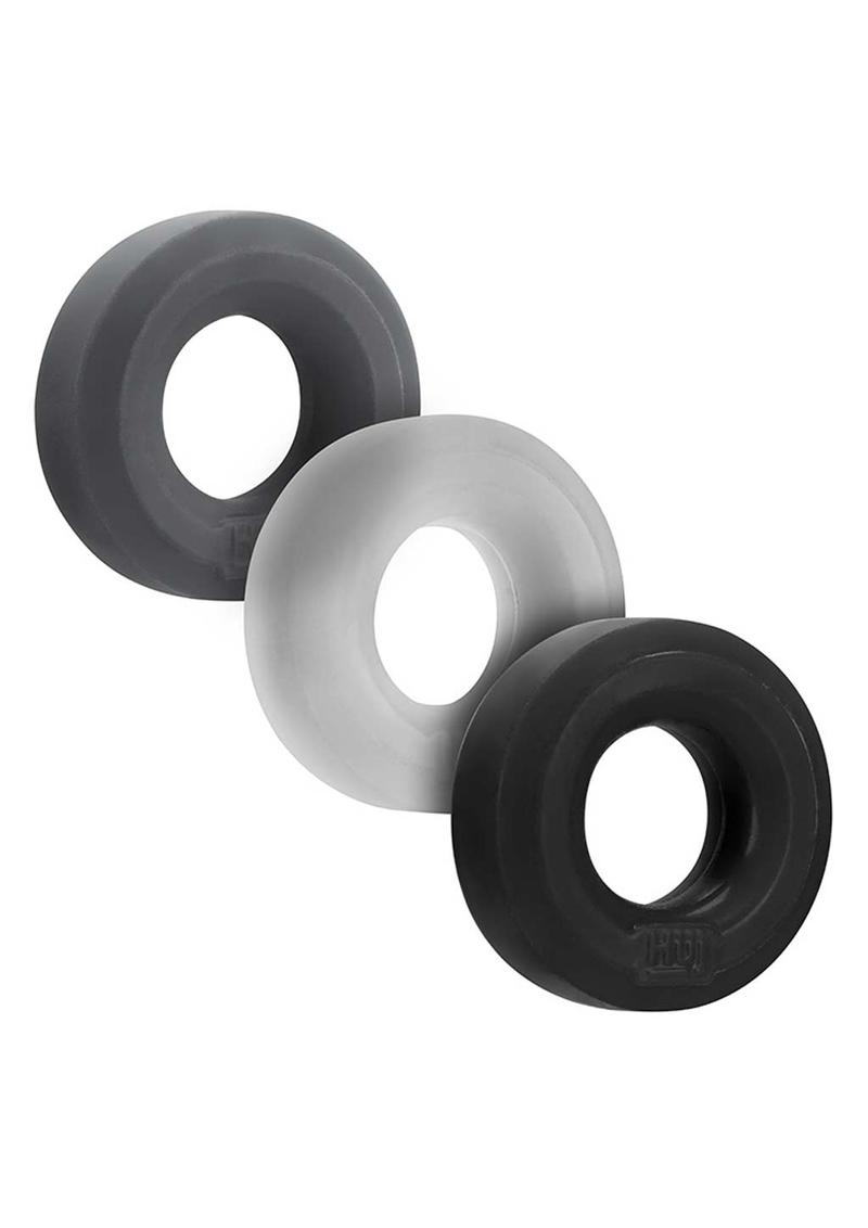 Hunkyjunk HUJ3 Silicone Blend C-Rings 3 Each Per Pack Tar/Stone/Ice