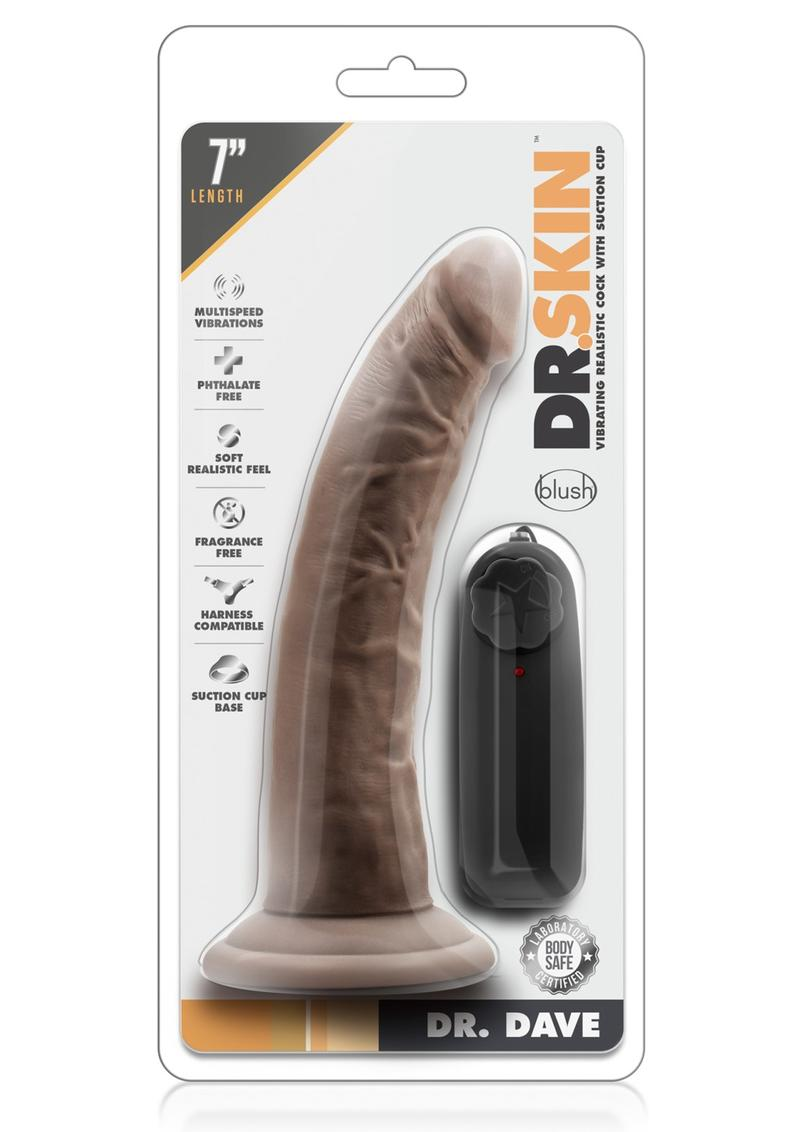 Dr Skin Dr Dave Dildo 7in Vibrating With Wired Remote - Chocolate