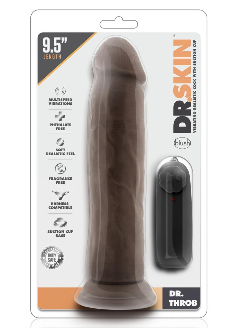 Dr Skin Dr Throb Dildo 9.5in Vibrating With Wired Remote - Chocolate