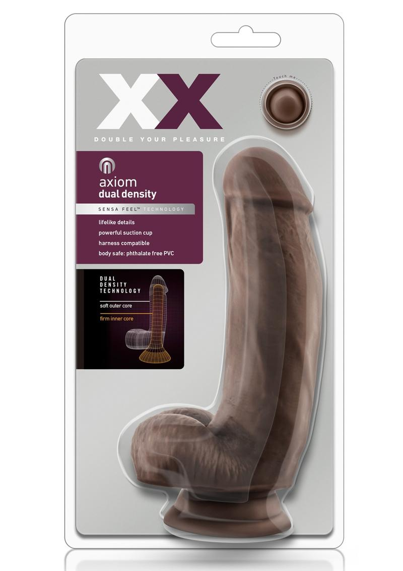 XX Asiom Dual Density Sensa Feel Realistic Dildo Chocolate 7 Inches