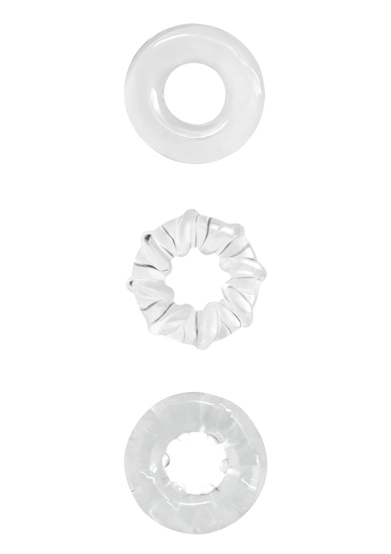 Renegade Dyno Rings Clear Cock Ring Set Non-Vibrating