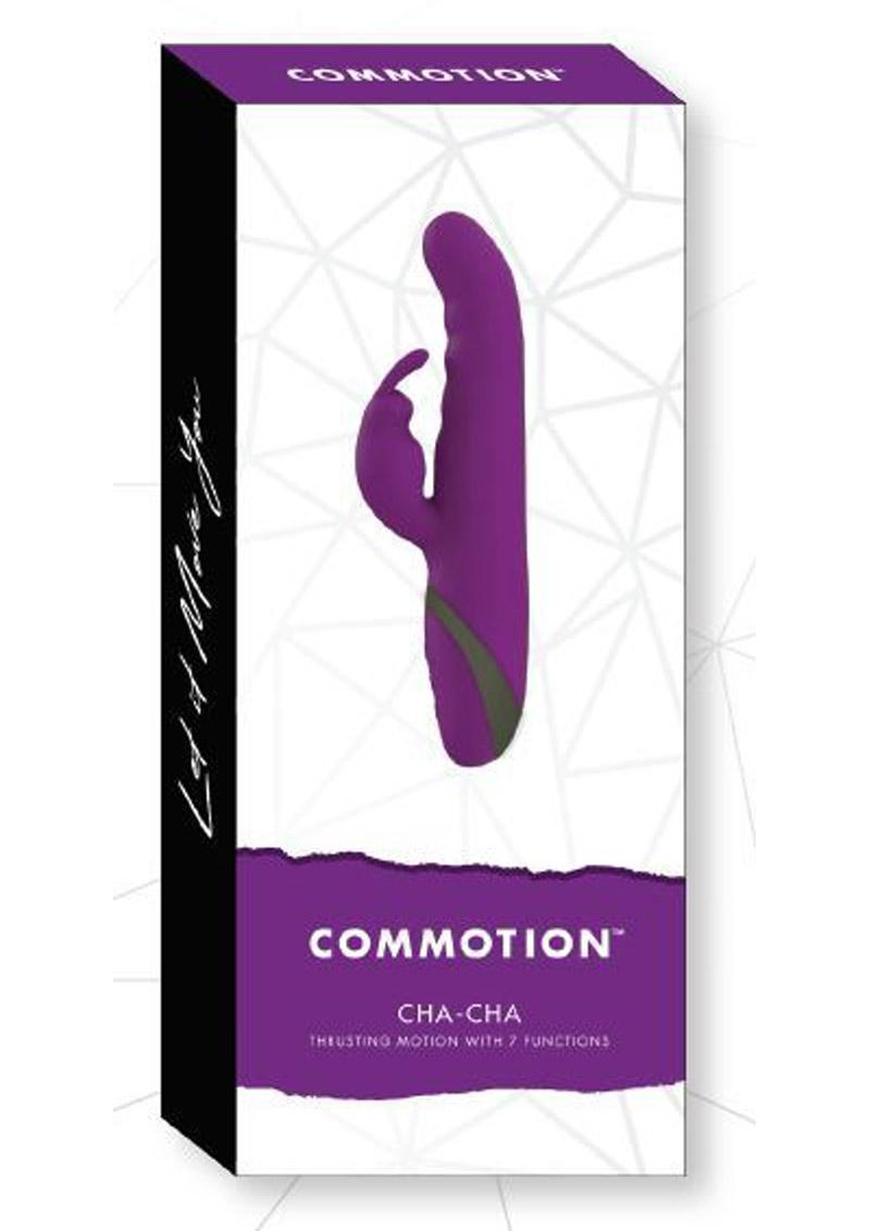Commotion Cha Cha Silicone Vibrator With Clitoral Stimulation USB Rechargeable Waterproof Plum 9.25 Inches