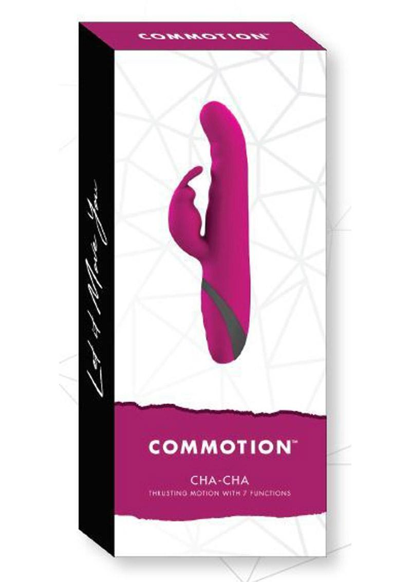Commotion Cha Cha Silicone Vibrator With Clitoral Stimulation USB Rechargeable Waterproof Raspberry 9.25 Inches