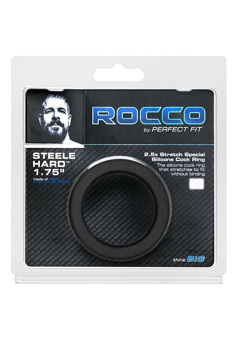 Perfect Fit Rocco Steele Hard 1.75in Silicone Cock Ring - Black