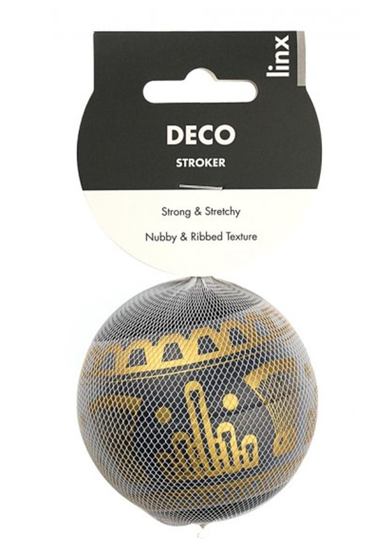 Linx Deco Stroker Ball Masturbator Nubby and Ribbed Textured Waterproof Black