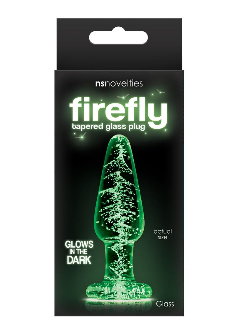 Firefly Tapered Glass Plug Small Glow In The Dark - Clear
