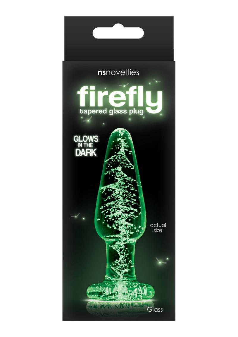 Firefly Tapered Glass Plug Medium Glow In The Dark - Clear