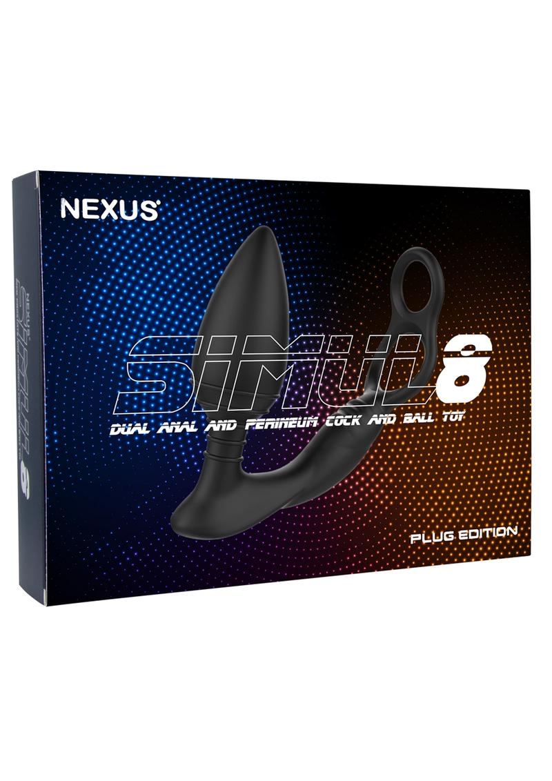 Simul8 Dual Anal and Perineum Cock and Ball Toy Silicone Rechargeable Waterproof Multi Vibrations Black