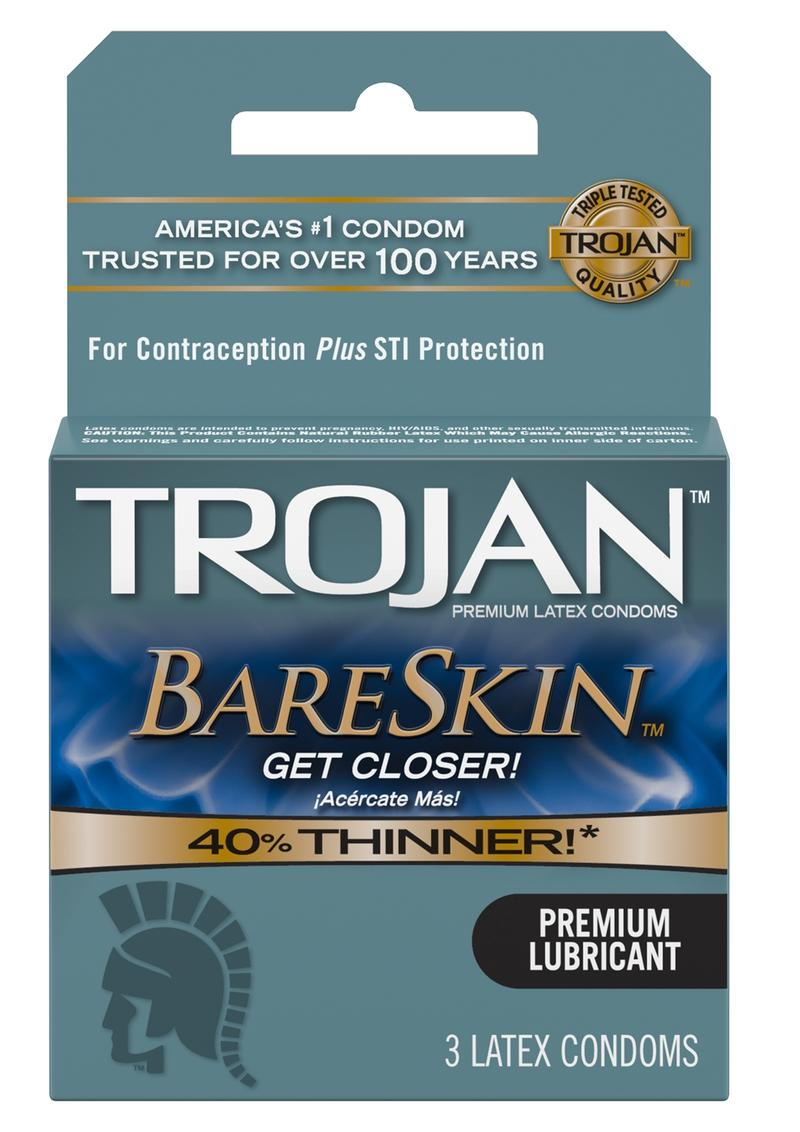 Trojan Bareskin Premium Lubricated Latex Condoms 3-Pack