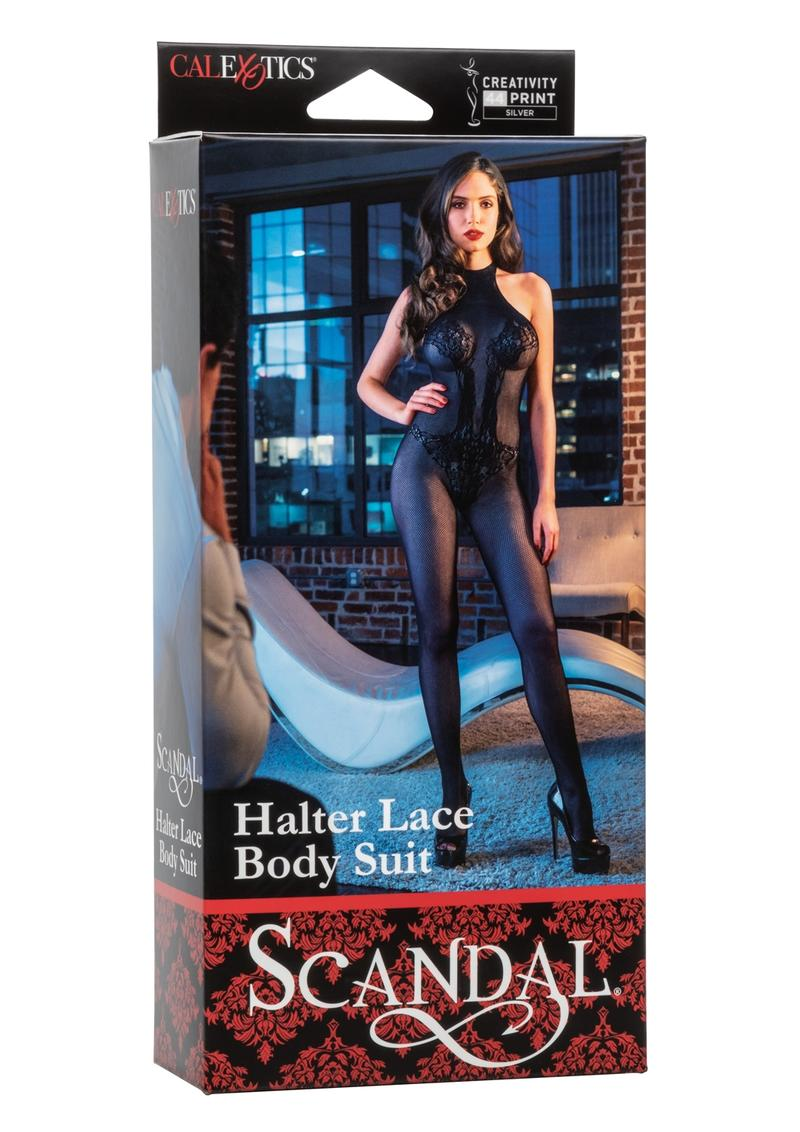 Scandal Halter Lace Body Suit One Size