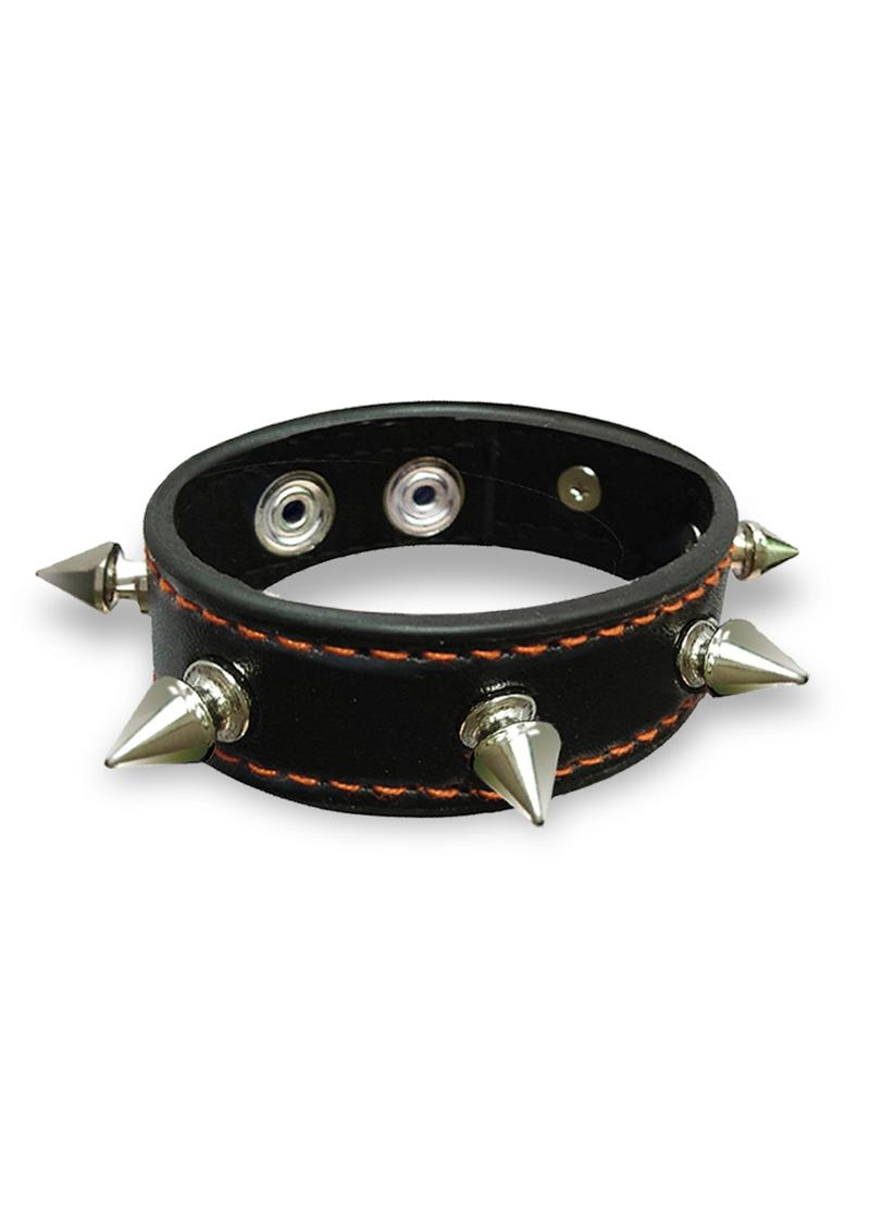 Orange Is The New Black Spike Studded Leatherette Cock Ring Snap Fastener