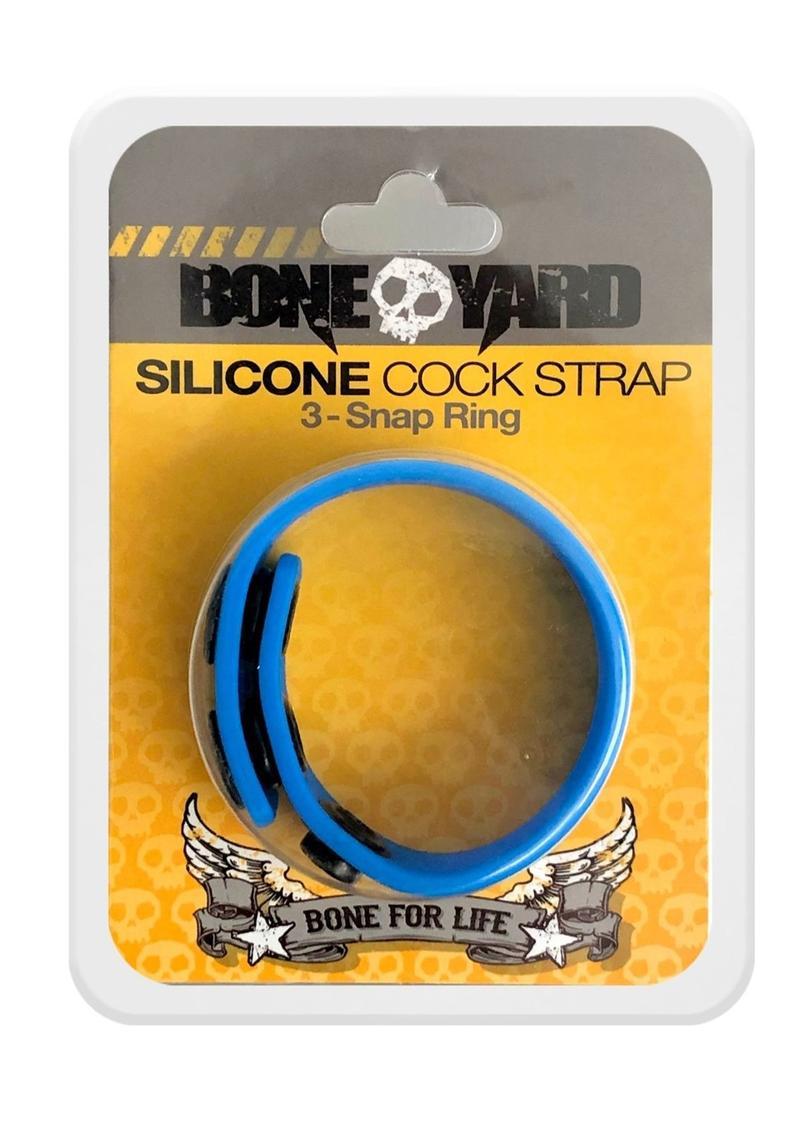 Bone Yard Silicone Cock Strap 3 Snap Ring Blue