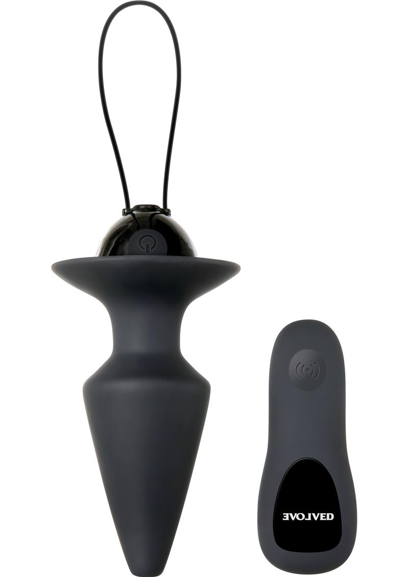 Plug and Play Remote Control Anal Plug Silicone USB Rechargeable  Waterproof  Black