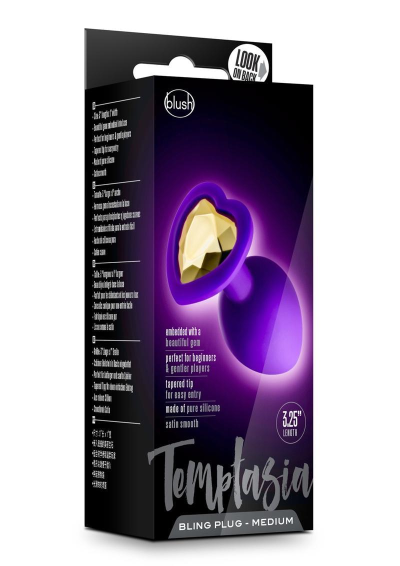 Temptasia Bling Silicone Anal Plug Medium Purple 3.25 Inch