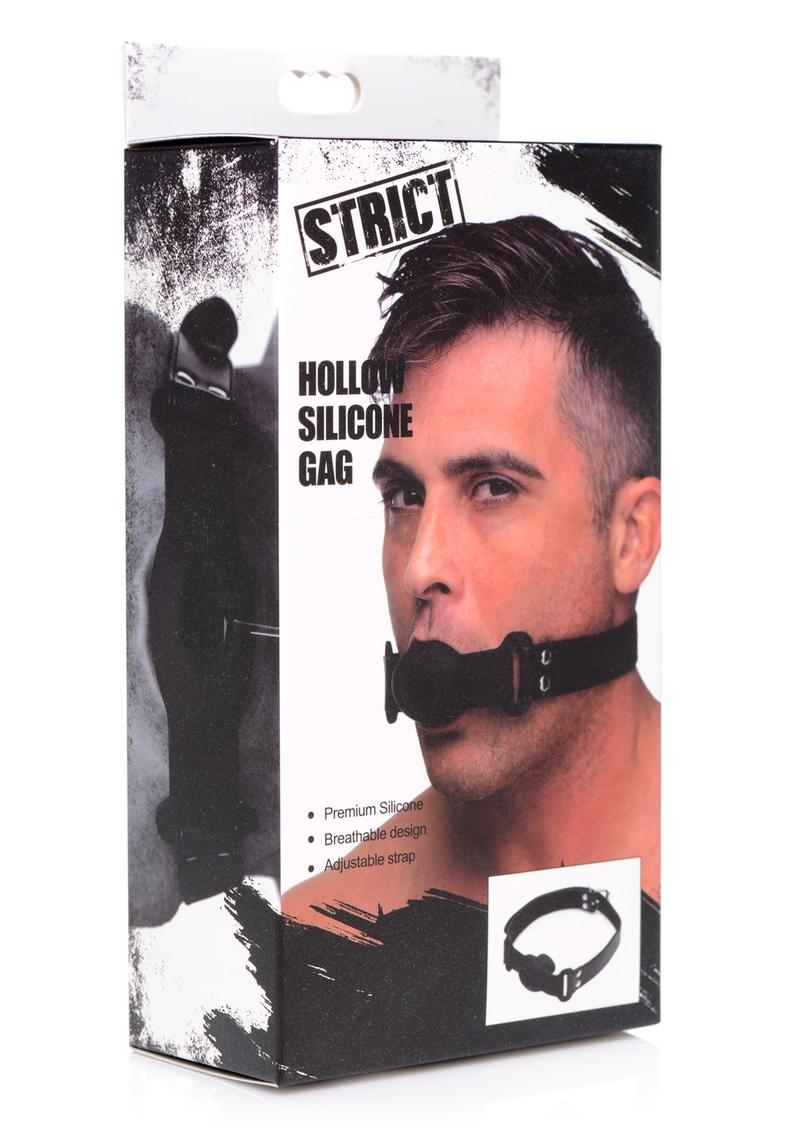 Strict Hollow Silicone Gag Adjustable Black