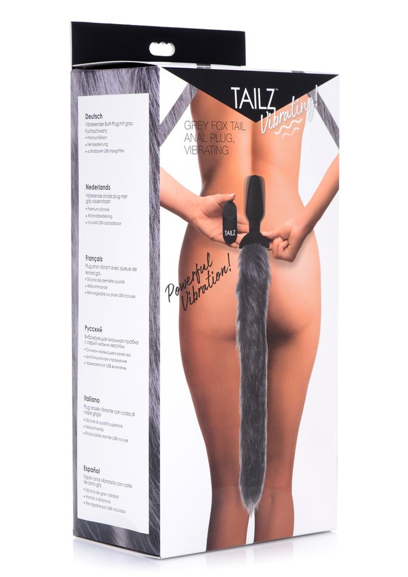 Tailz Vibrating Grey Fox Tail Anal Plug Silicone Rechargeable Remote Control