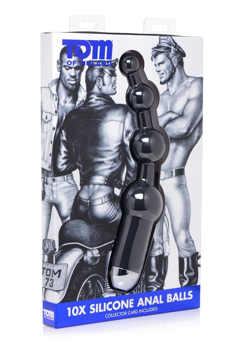 Tom of Finland 10x Silicone Anal Balls Vibrating Rechargeable Waterproof