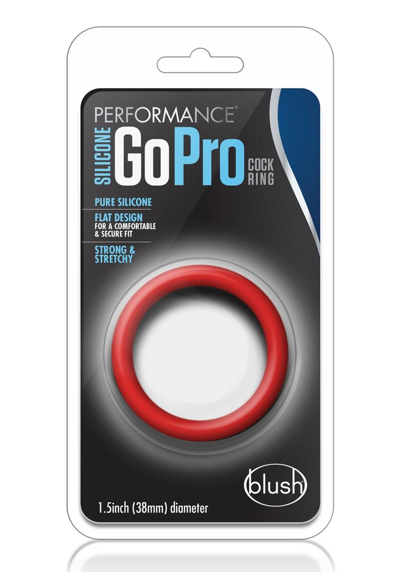Performance Silicone Go Pro Cock Ring Red 1.5 Inch Diameter