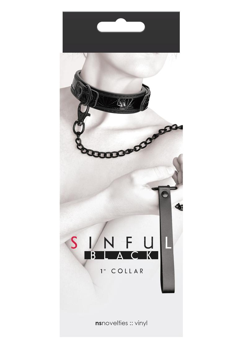 Sinful 1 Inch Collar Adjustable Collar and Leash Vinyl Black