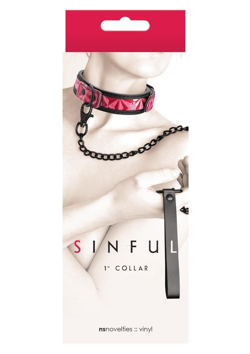 Sinful 1 Inch Collar Adjustable Collar and Leash Vinyl Pink