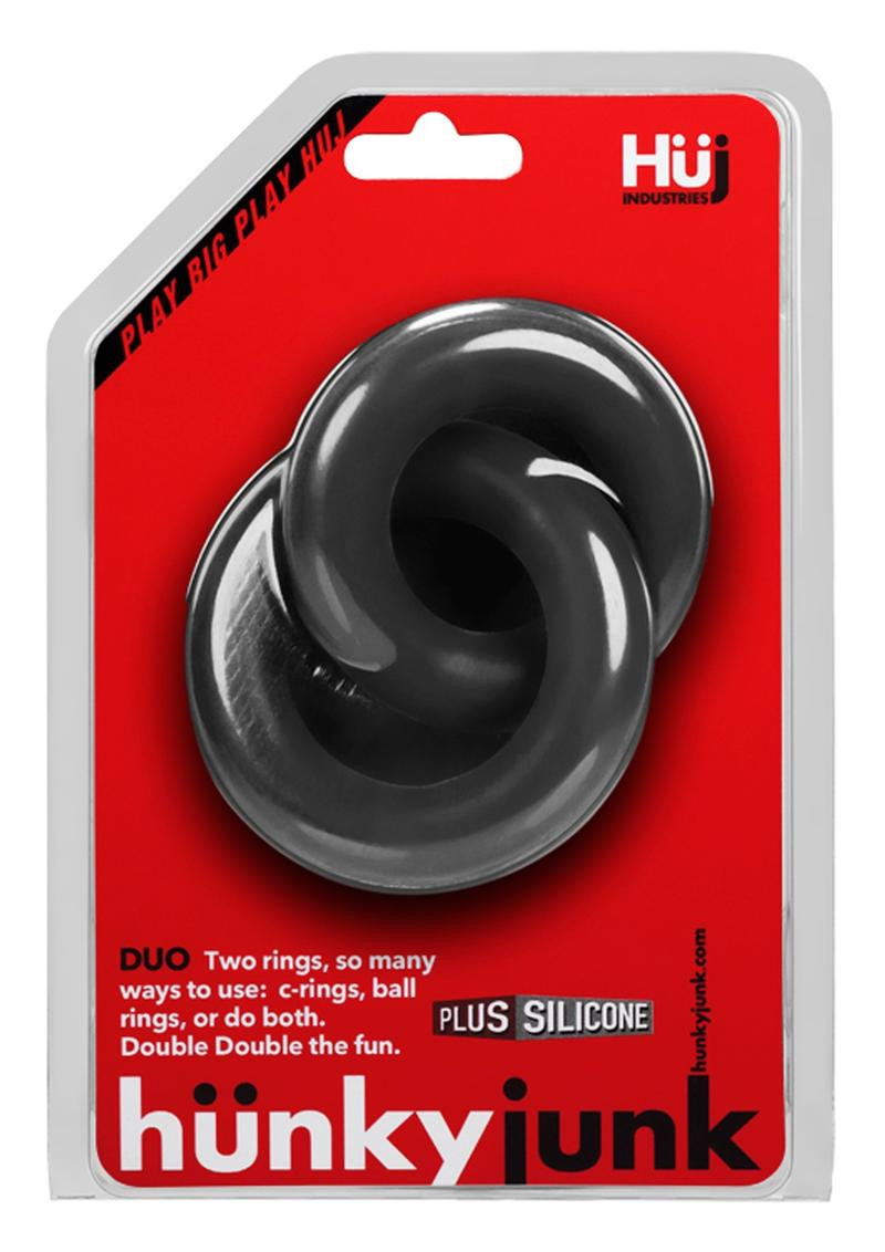 Duo Link Cockring/Ball Ring Silicone Non Vibrating Black