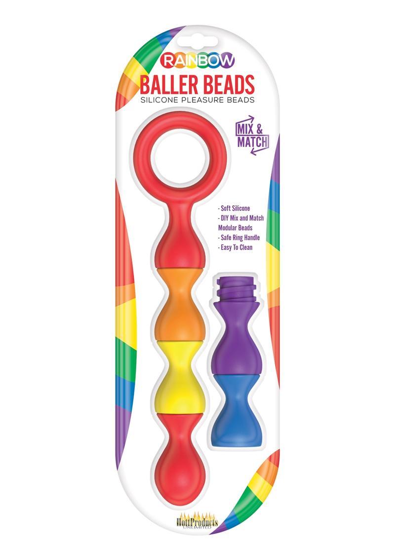 Rainbow Baller Beads Silicone Pleasure Anal Beads Waterproof