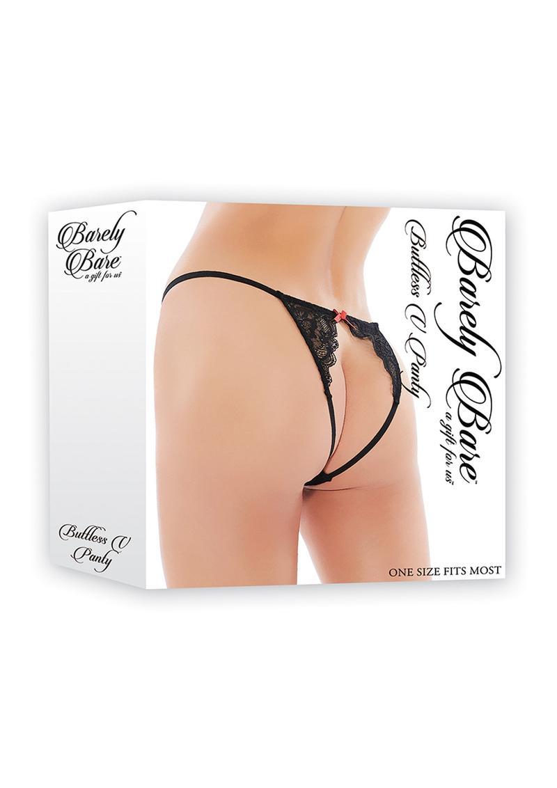 Barely Bare Buttless V Panty Black One Size