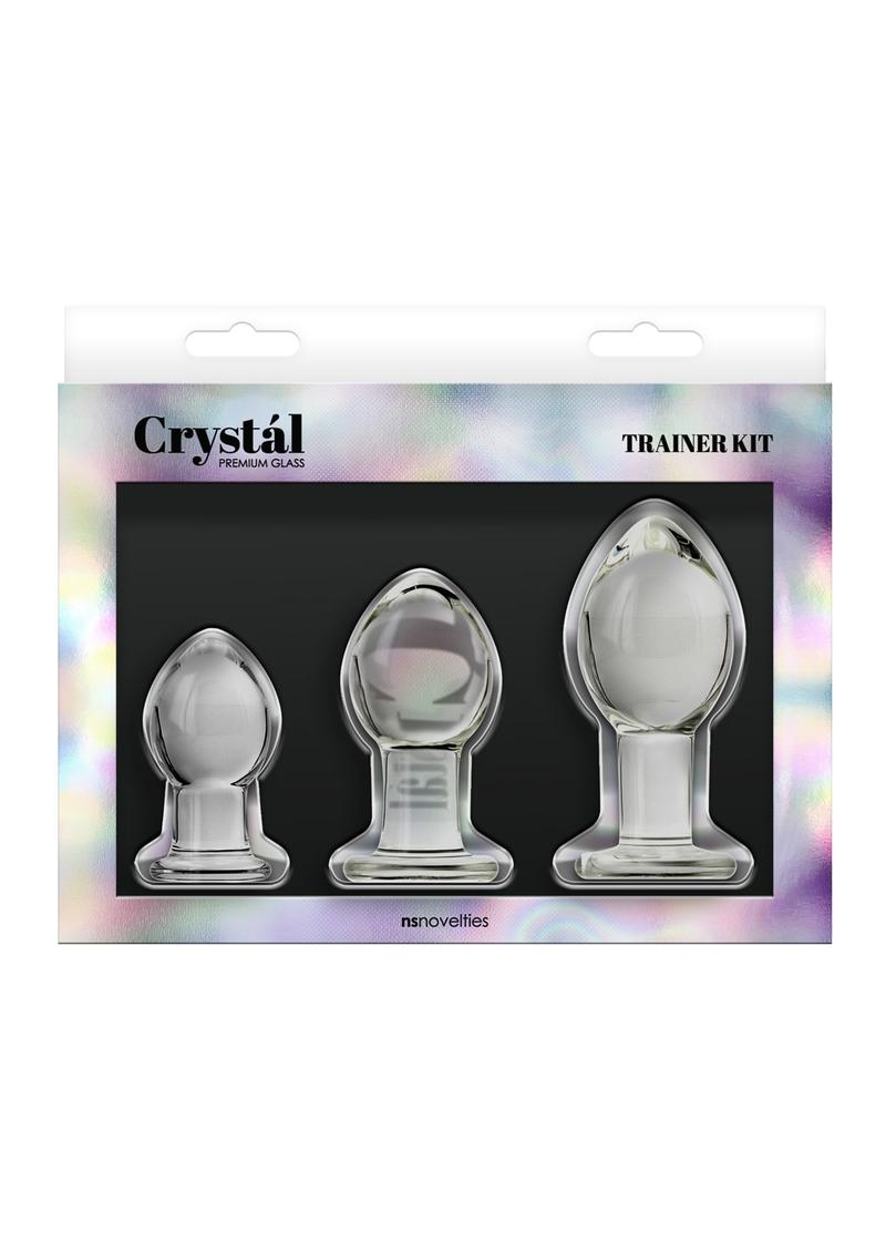 Crystal Premium Glass Trainer Kit Anal Plug Set - Clear