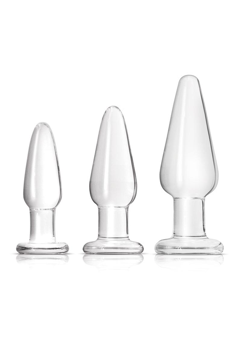 Crystal Premium Glass Tapered Trainer Kit Anal Plug Set - Clear