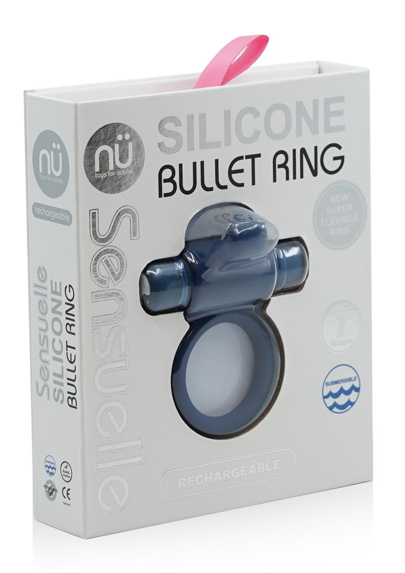 Silicone Bullet Ring With Clit Stimulator USB Rechargeable Multi Speed Navy Blue
