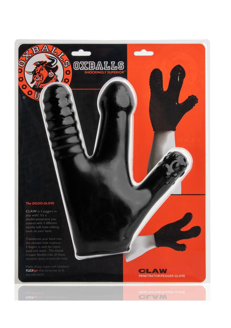 Oxballs The Dildo Glove Penetrator Pegger Claw Glove Silicone  Black
