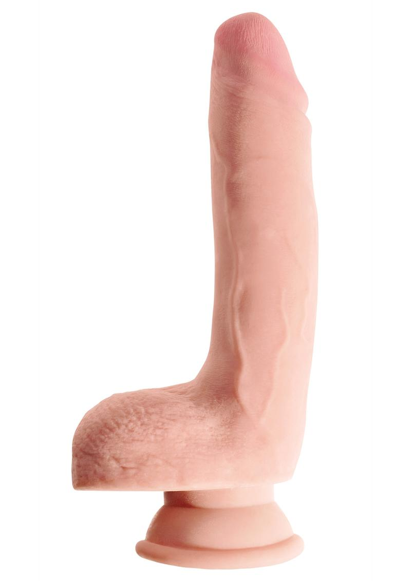 King Cock Plus 9 Inch Triple Density Cock With Balls Strap On Compatible Non Vibrating Suction Cup Base Flesh