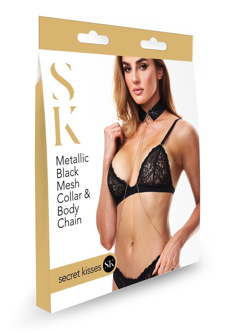 Secret Kisses Metallic Black Mesh Collar and Body Chain