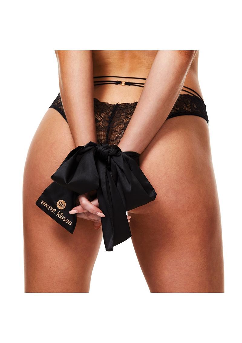 Secret Kisses Luxe Satin Bondage Strap Black
