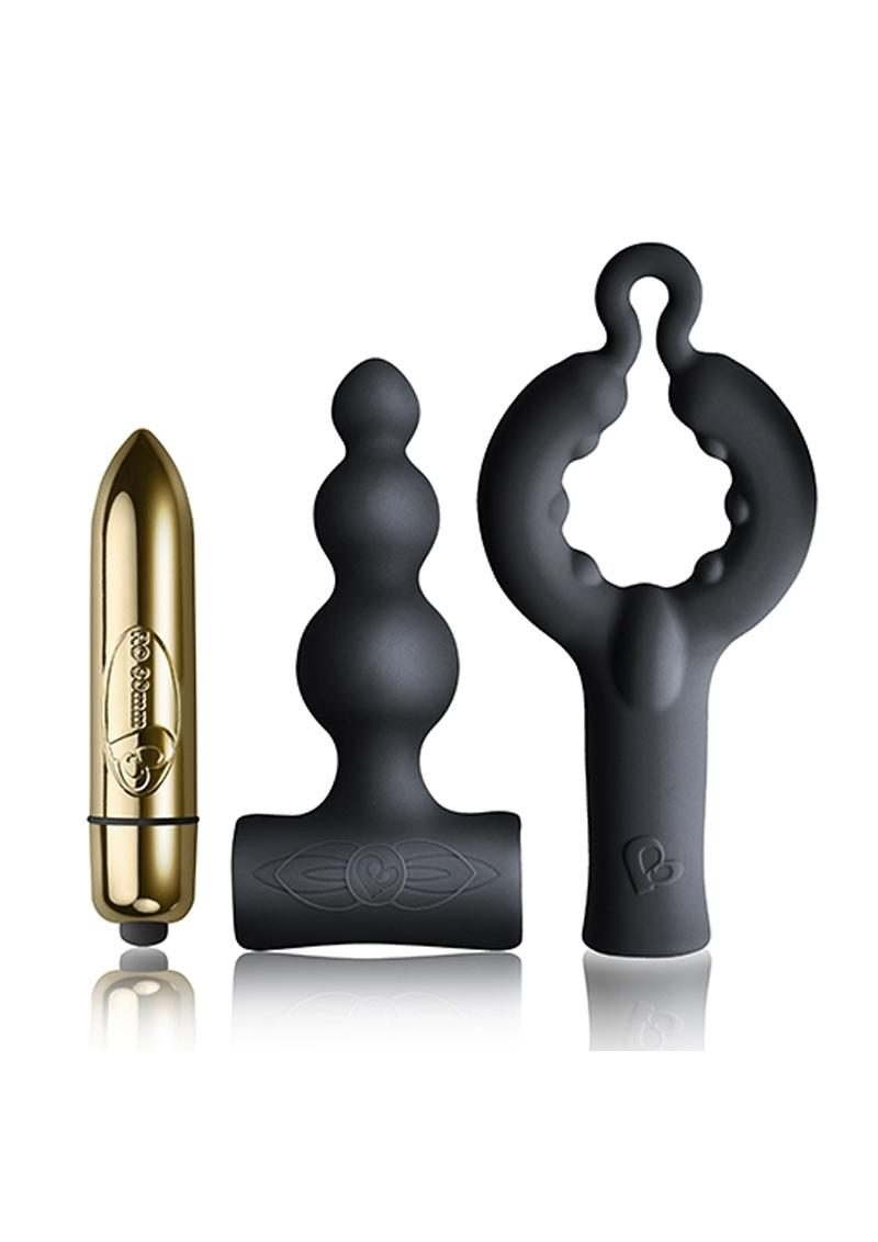 Silhouette Be Mine Set Bullet With Silicone Attachments Waterproof Gold And Black