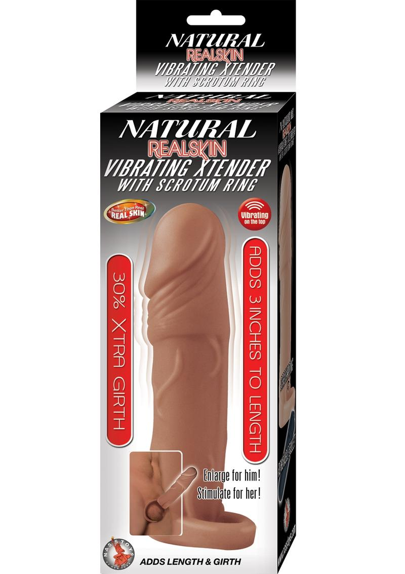 Natural Realskin Vibrating  Xtender With Scrotum ring Brown