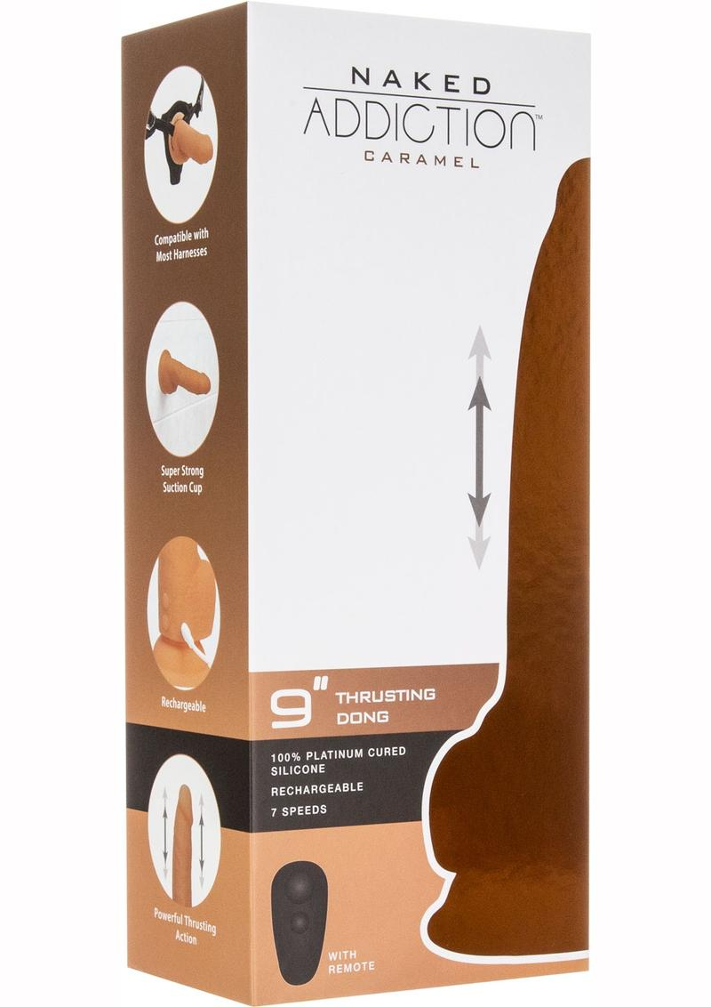 Naked Addiction Dual Dense Silicone Thrusting Rechargeable Dong With Wireless Remote Water Resistant Caramel 9 Inches
