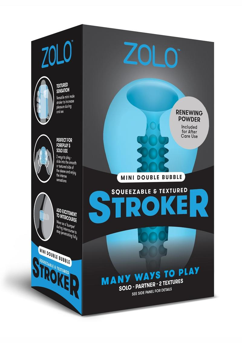 Zolo Squeezable and Textured Mini Double Bubble Male Masurbator Non Vibrating Blue