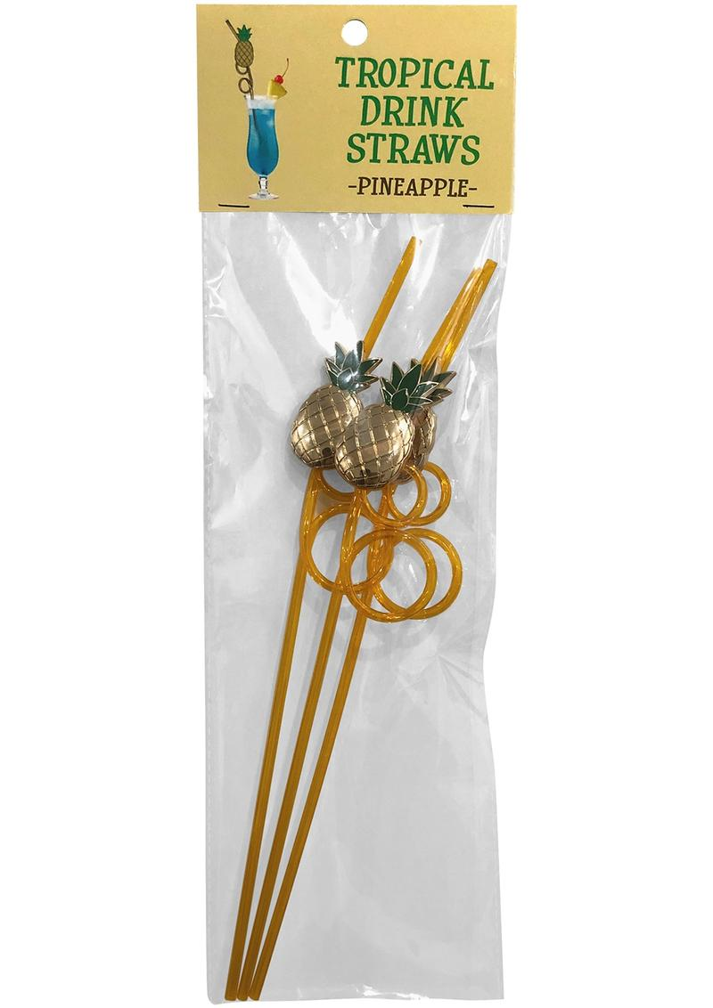 Tropical Drink Straws Pineapple 3 Each Per Pack