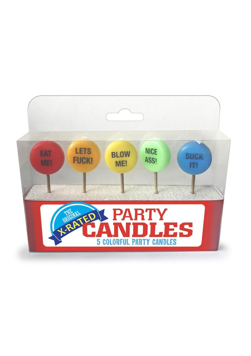 Candy Prints The Original X-Rated Party Candles Assorted Colors 5 Each Per Pack