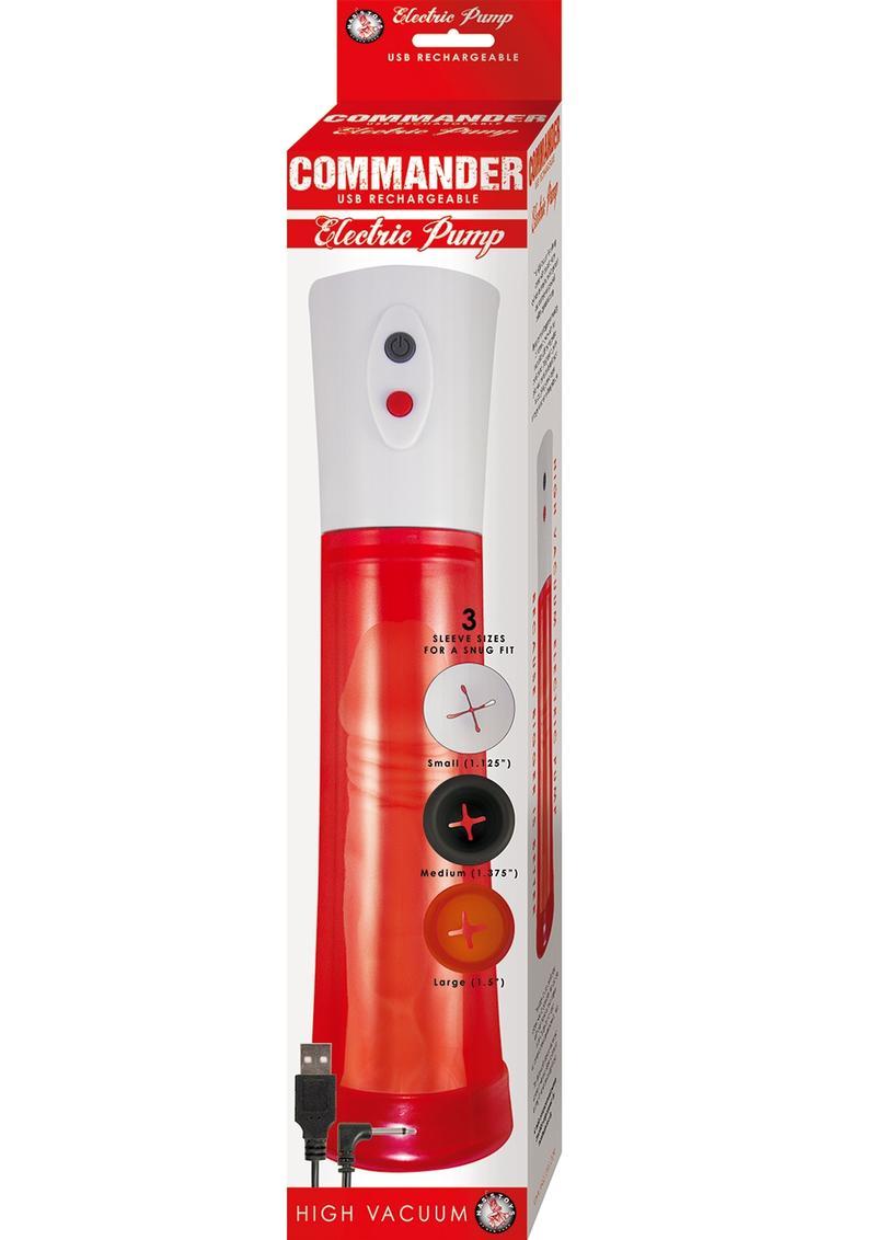 Commander Electric Penis Pump - Red