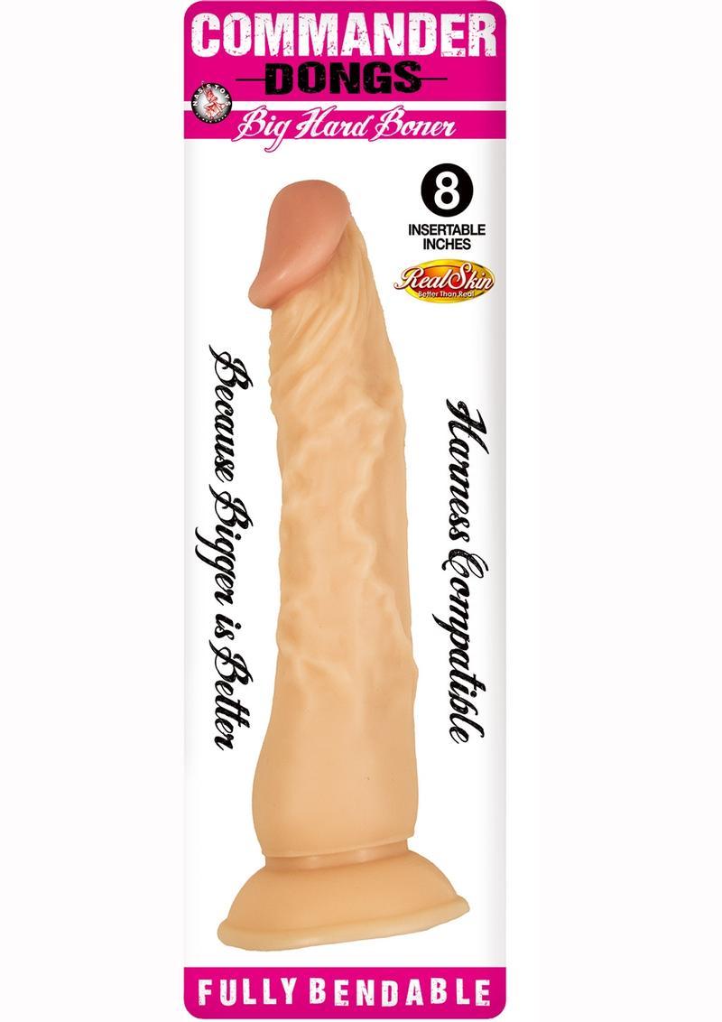Commander Dongs Big Hard Boner Dildo 8in - Vanilla