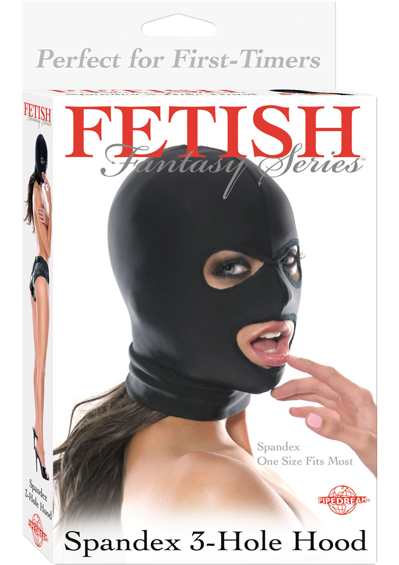 Fetish Fantasy Spandex 3 Hole Hood Black