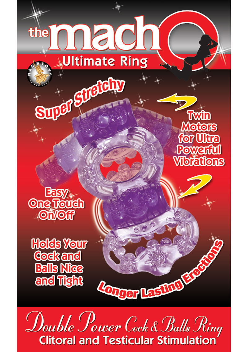 The Macho Ultimate Ring Double Power Cock And Ball Vibrating Cock Ring - Purple