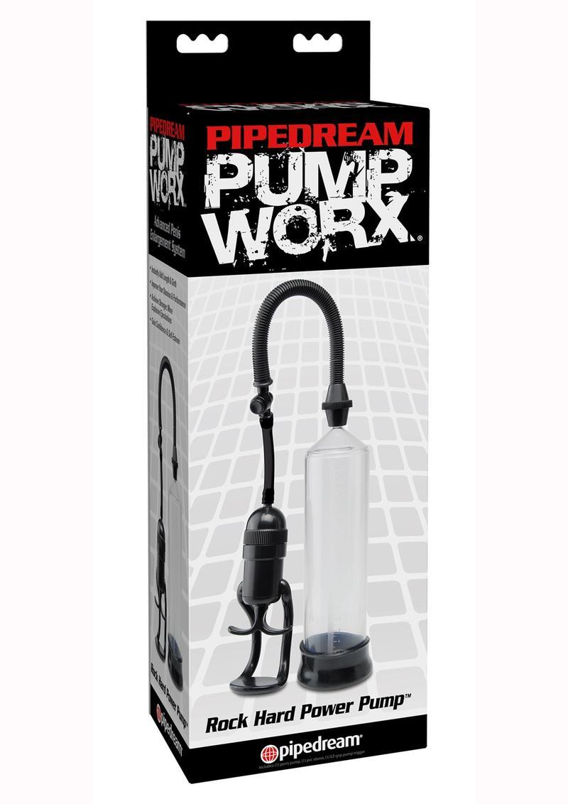 Pump Worx Rock Hard Power Penis Pump - Clear And Black