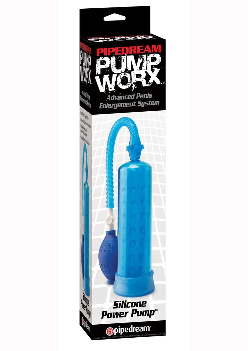 Pump Worx Silicone Power Pump Advanced Penis Enlargement System - Blue